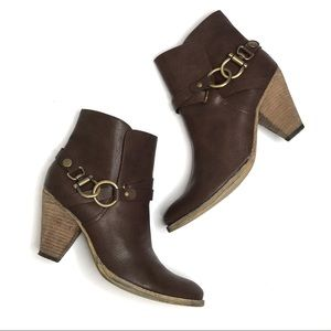 Very Volatile Brown Harness Heeled Ankle Boots